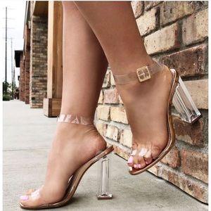 Fashion Nova Glass Slipper Heels